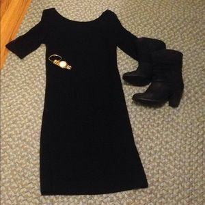 3/4 sleeve Black Dress with Scoop Back